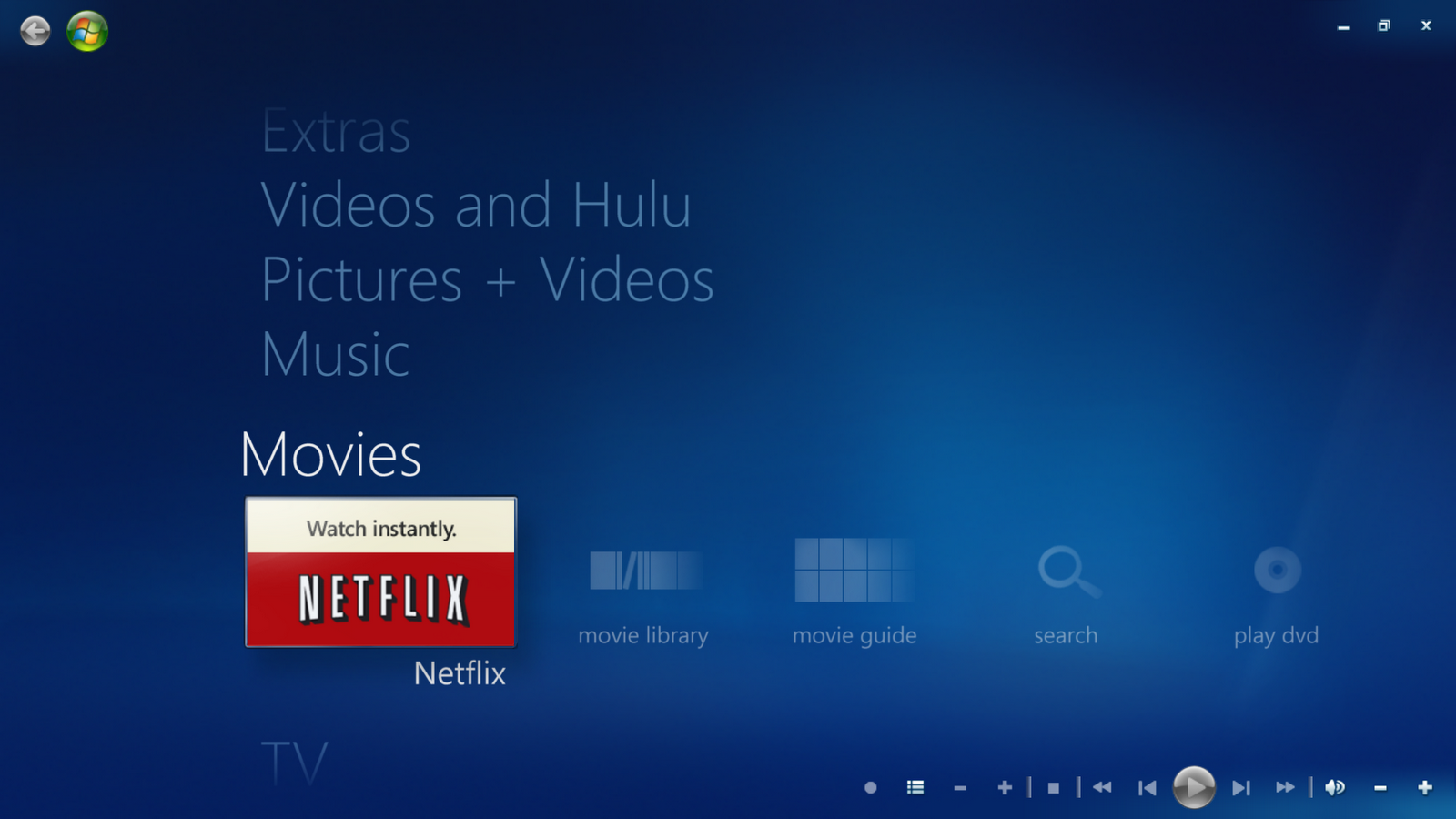 Netflix on WMC homescreen
