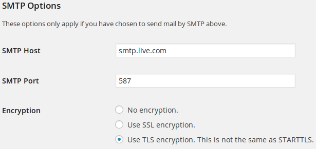 Screenshot of SMTP settings