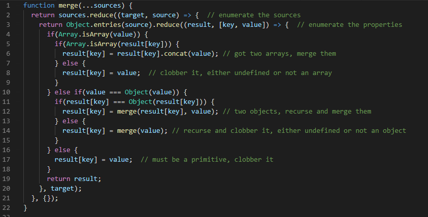 The JavaScript code to merge objects syntax highlighted. See the actual text below in the post