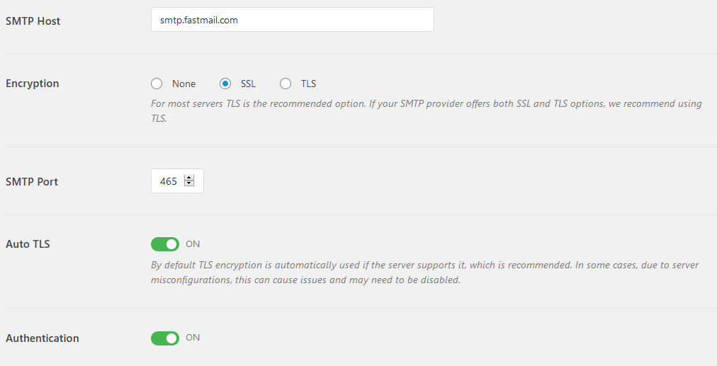WP Mail SMTP Settings Panel